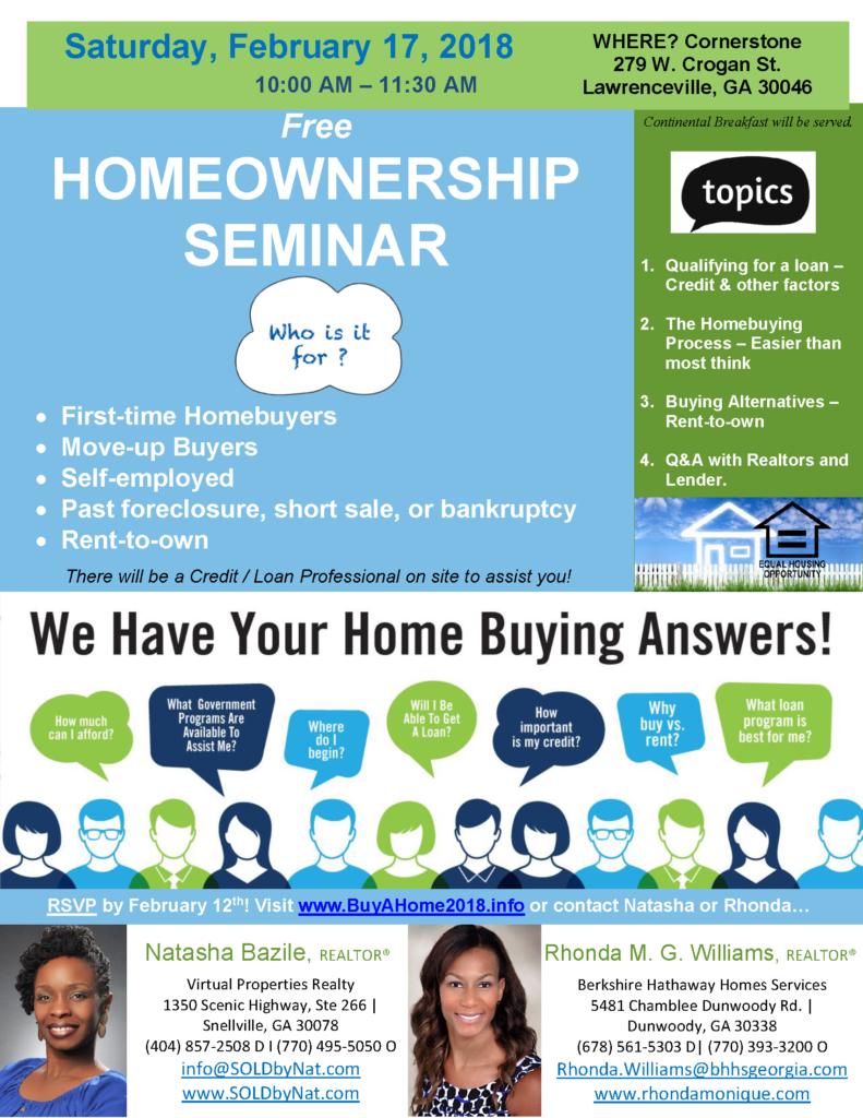 Homeownership Seminar -_Lawrenceville, GA - Natasha Bazile